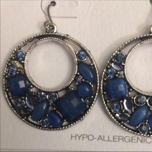 Blue/silver dangling earrings